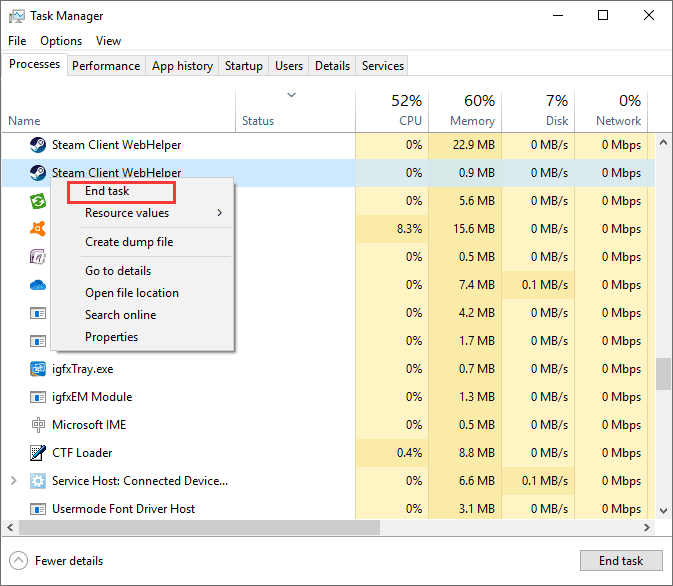 terminate all steam related processes from the task manager.
